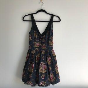 Free People Floral Print Dress with Mesh Detail